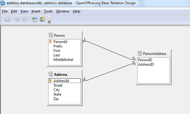 open office tools relationships window where you can set foreign key relationships
