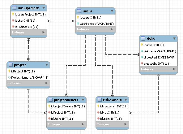 A team friendly database design of a risk management database application