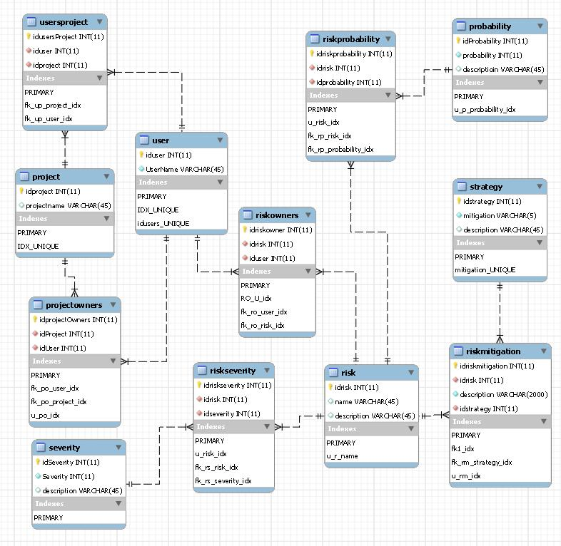 model of a risk management database that supports projects and risks.