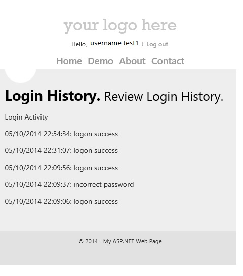 enhancing web matrix 3 starter site template to show login activity