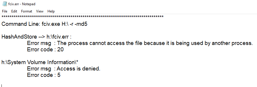 fciv-err.txt opened in notepad showing HashAndStore and access is denied errors.